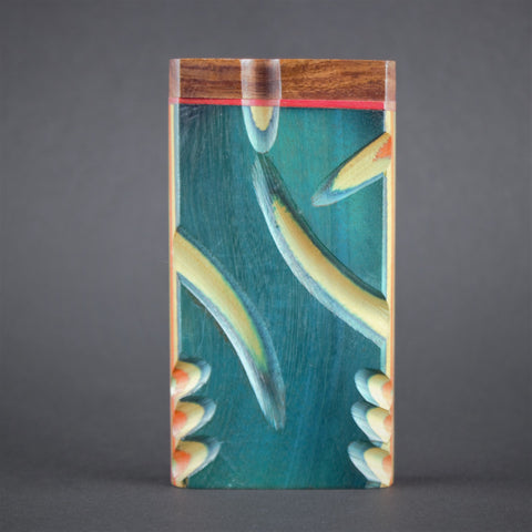 Colorful Wooden Dugout With Chillum Hand Pipe