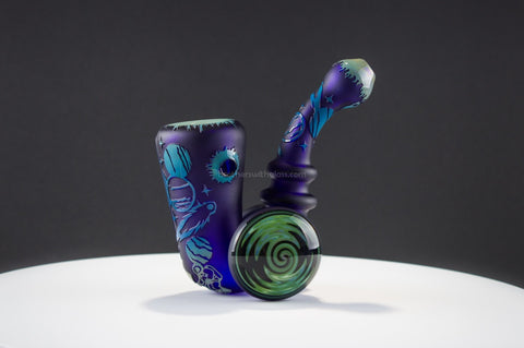 Liberty 503 Sandblasted Sherlock With Wig Wag Discs Hand Pipe - Outer Space - Brothers with Glass - 1