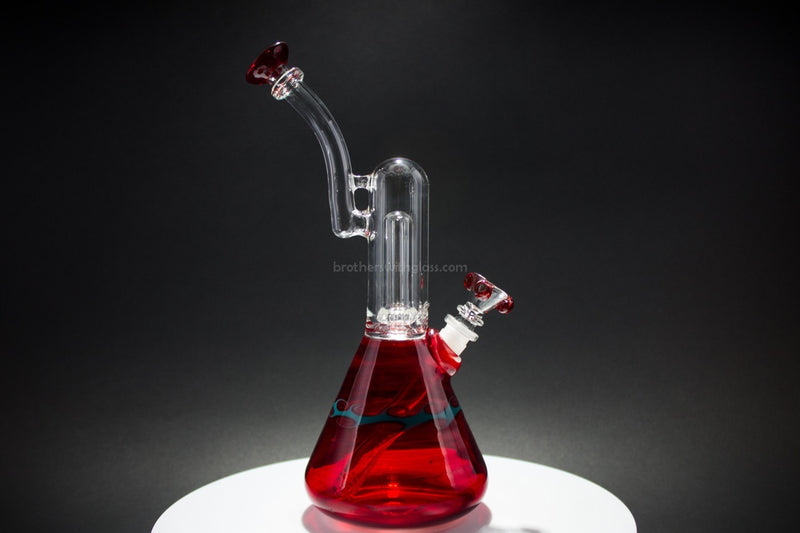 HVY Glass Showerhead Beaker Color Wrap Water Pipe - Ruby - Brothers with Glass - 1