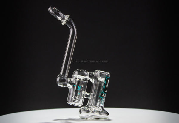 Mathematix Glass Mini Double Barrel Bubbler Water Pipe - Brothers with Glass - 1
