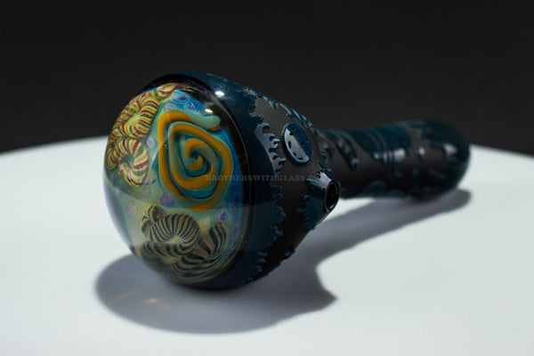Liberty 503 Black Space Sandblasted Inside Out Cap Glass Hand Pipe - Brothers with Glass - 1