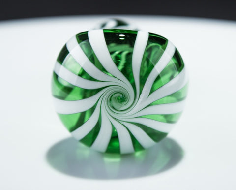 Mathematix Glass White Striped Hand Pipe - Green