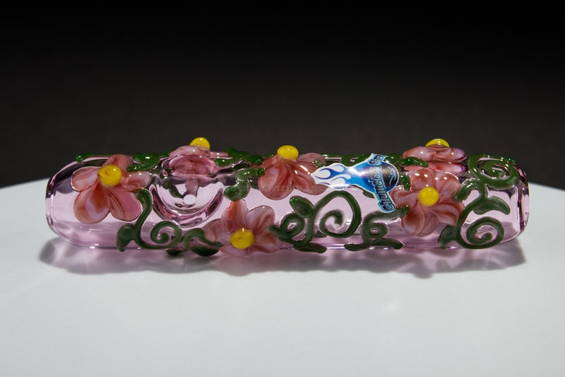 Chameleon Glass Flower Power Steamroller Glass Pipe - Pink