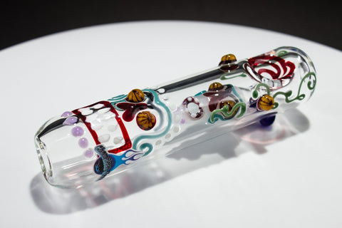 Chameleon Glass Redding Skull Steamroller Hand Pipe