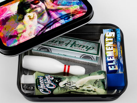 Big Lebowski Gift Set with Ceramic Bowling Pin Chillum