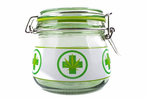 Green Medical Cannabis Glass Stash Jar - Large