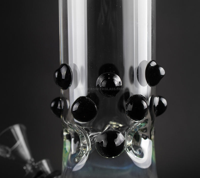 No Label Glass 8 Inch Beaker Water Pipe with Marbles - Black Rake
