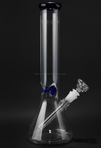 No Label Glass 14 In Blue Accents Beaker Bottom Water Pipe