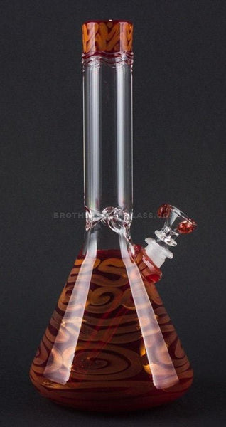 HVY Glass Coiled Color Beaker Water Pipe - Ruby