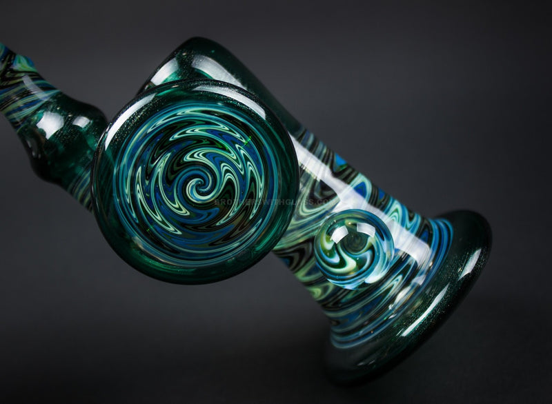 Kelly M Glass Wig Wag Bubbler Water Pipe with UV Reactive Illuminati