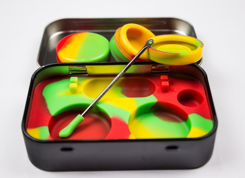 Hemp Leaf Silicone Dabber Kit with Rasta Colors