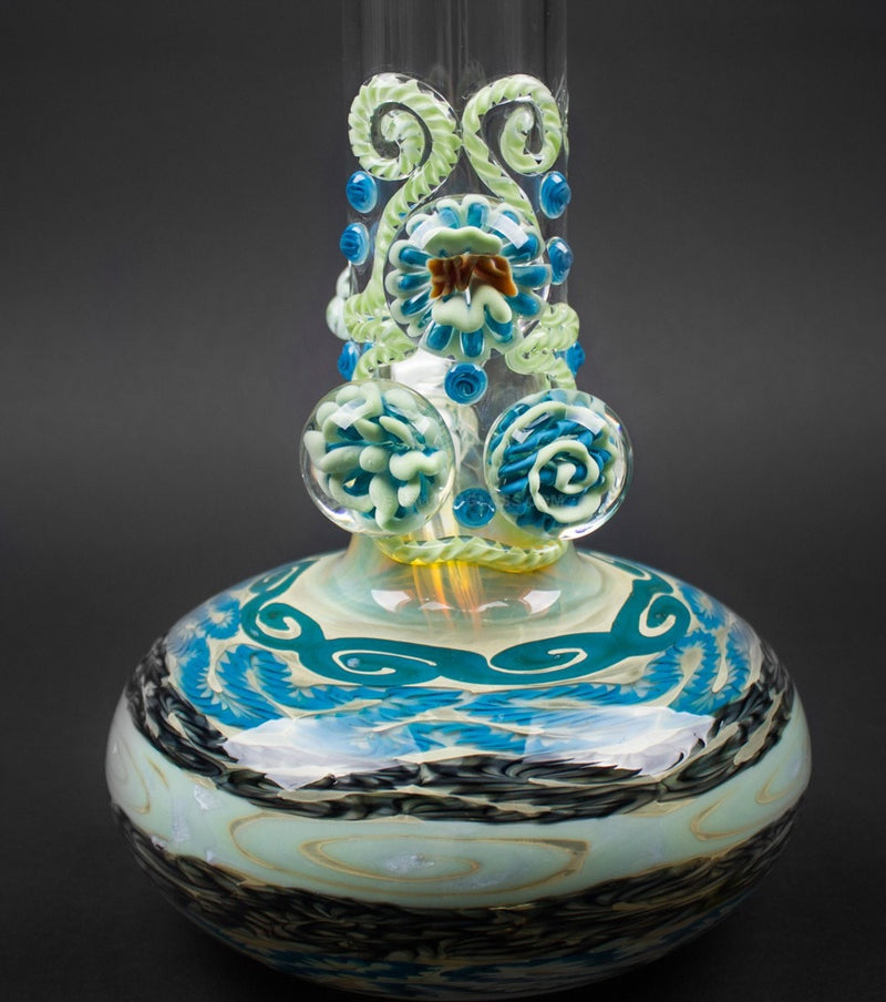 HVY Glass Color Coiled Bubble Bottom Water Pipe With Marbles - Blue Sky