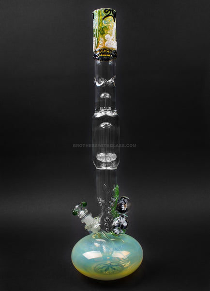 HVY Glass Bubble Bottom To Showerhead Water Pipe With Marbles - Forest Green
