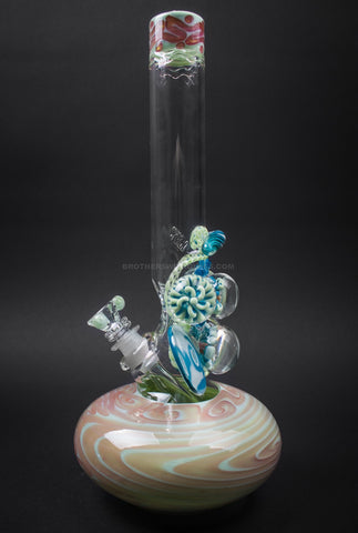 HVY Glass Bubble Bottom Water Pipe With 7 Marbles - Lime Sherbert