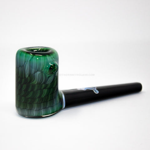 Chameleon Glass The Vern Traditional Style Hand Pipe - Experimental Green