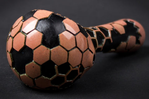 Liberty 503 Frit Sandblasted Black Hand Pipe - Red Honeycomb