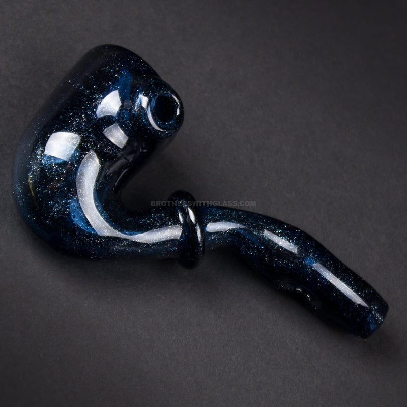 Darth Silicate Glass Functional Sherlock Hand Pipe Pendant - Blue Stardust