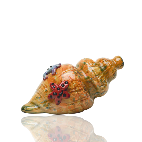 Empire Glassworks Yellow Frit Conch Shell Hand Pipe