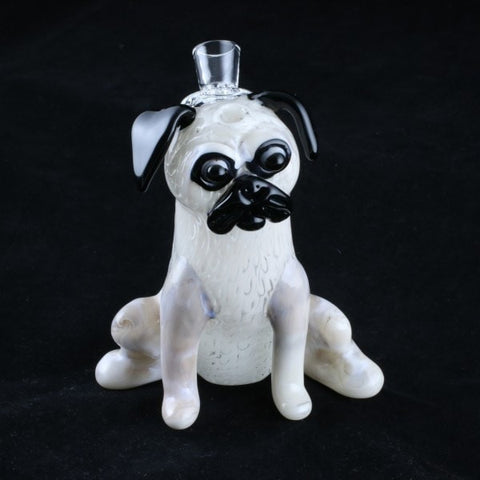 Chameleon Glass Sculpted Pug Water Pipe