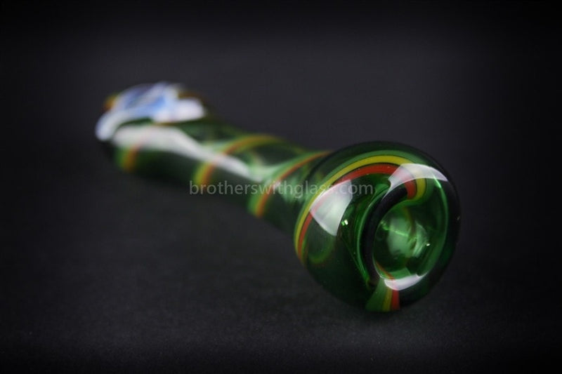 Chameleon Glass Redemption Chillum Hand Pipe - Green - Brothers with Glass - 3