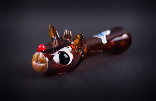 Chameleon Glass Holiday Rudolph Hand Pipe - Brothers with Glass - 1