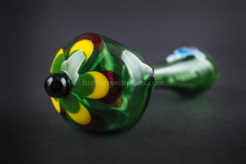 Chameleon Glass Jamaican Soul Flower Hand Pipe - Green - Brothers with Glass - 1