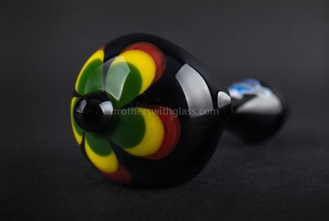 Chameleon Glass Jamaican Soul Flower Hand Pipe - Onyx - Brothers with Glass - 1