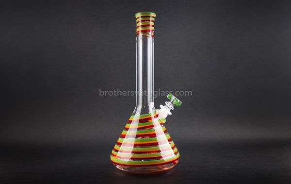 HVY Glass 12 In Heady Color Striped Beaker - Rasta Love - Brothers with Glass - 1