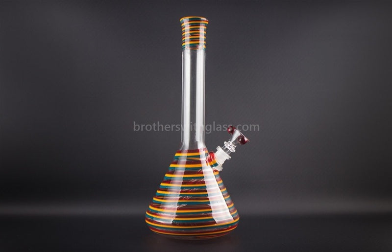 HVY Glass 12 In Heady Color Striped Beaker - Teal Rasta - Brothers with Glass - 1