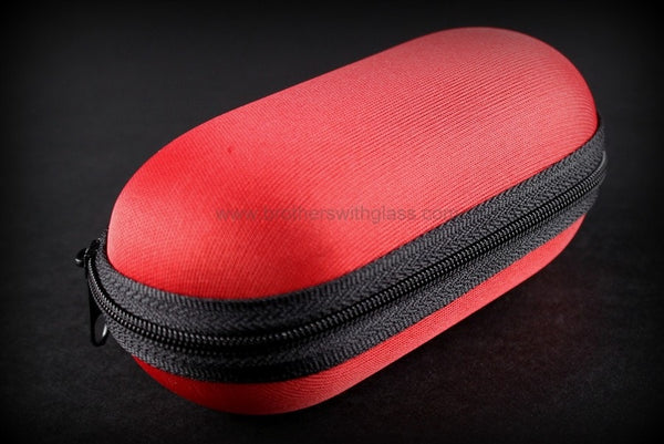 Biohazard Padded Zippered 6 Inch Pipe Case - Red - Brothers with Glass - 1