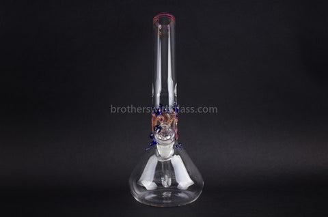Realazation Glass Worked Bent Neck Beaker Water Pipe - Blue and Amber - Brothers with Glass - 2