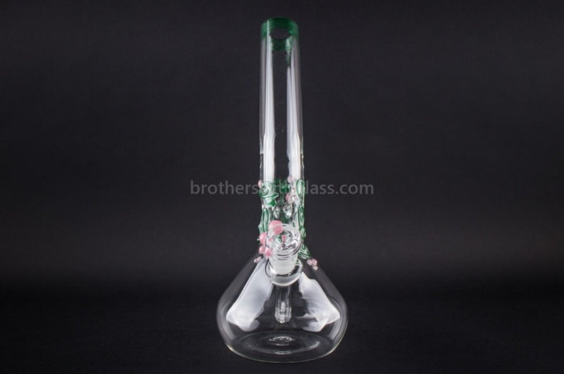 Realazation Glass Worked Bent Neck Beaker Water Pipe - Pink and Green - Brothers with Glass - 2