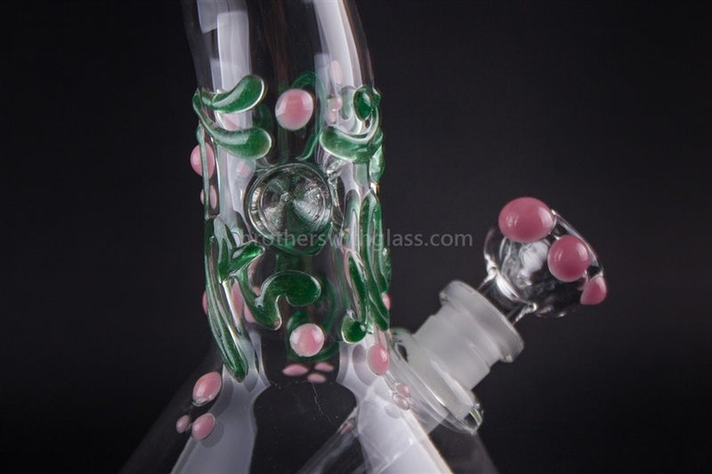 Realazation Glass Worked Bent Neck Beaker Water Pipe - Pink and Green - Brothers with Glass - 3