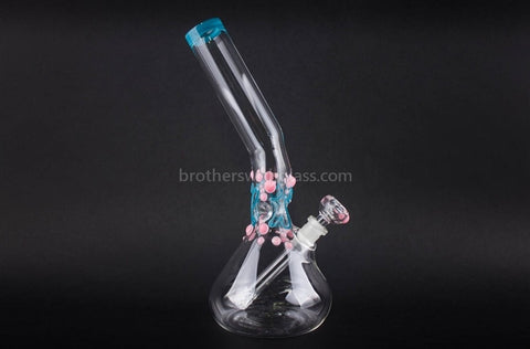 Realazation Glass Worked Bent Neck Beaker Water Pipe - Pink and Teal - Brothers with Glass - 1