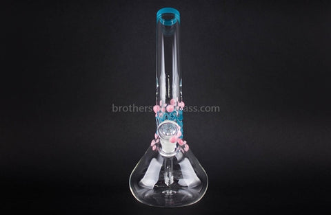 Realazation Glass Worked Bent Neck Beaker Water Pipe - Pink and Teal - Brothers with Glass - 2