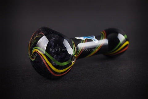 Chameleon Glass Jamrock Onyx Frit Rasta Hand Pipe - Brothers with Glass - 1