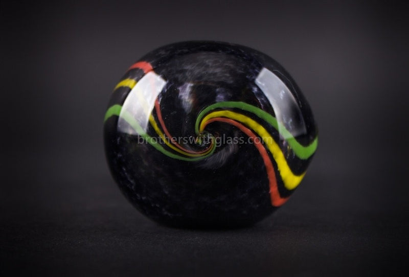 Chameleon Glass Jamrock Onyx Frit Rasta Hand Pipe - Brothers with Glass - 3