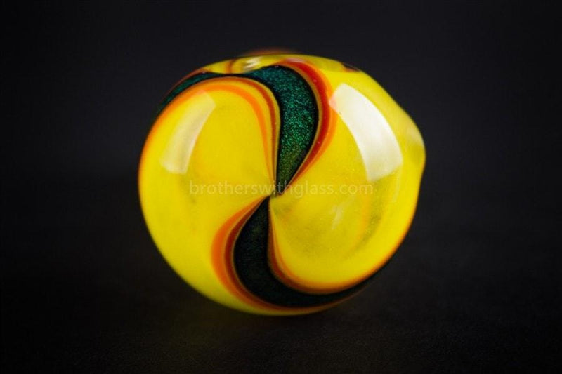 Chameleon Glass Dichro Deviant Frit Hand Pipe - Yellow - Brothers with Glass - 3