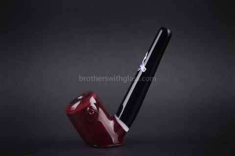 Chameleon Glass Manhattan Traditional Standing Sherlock Hand Pipe - Red - Brothers with Glass - 1