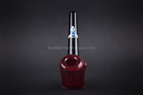Chameleon Glass Manhattan Traditional Standing Sherlock Hand Pipe - Red - Brothers with Glass - 2
