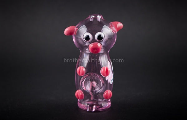 Chameleon Glass Wilbur Pink Pig Hand Pipe - Brothers with Glass - 1