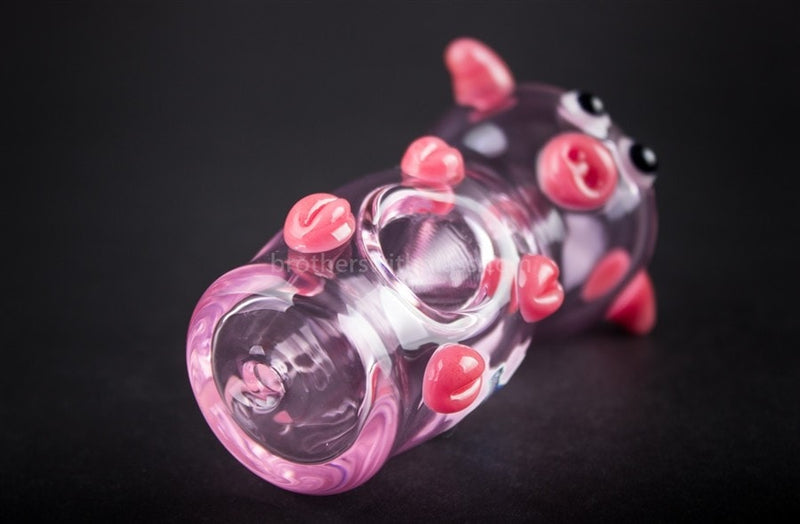 Chameleon Glass Wilbur Pink Pig Hand Pipe - Brothers with Glass - 4