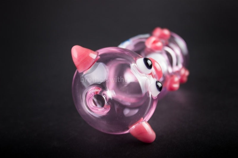 Chameleon Glass Wilbur Pink Pig Hand Pipe - Brothers with Glass - 5