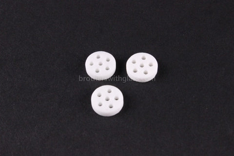 White Ceramic Pipe Screens 3 Pack - Brothers with Glass