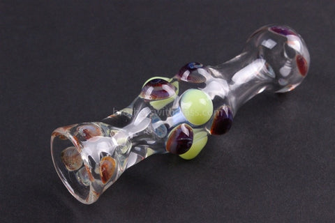 Greenlite Glass Random Colored Marble Chillum Hand Pipe - Brothers with Glass - 1