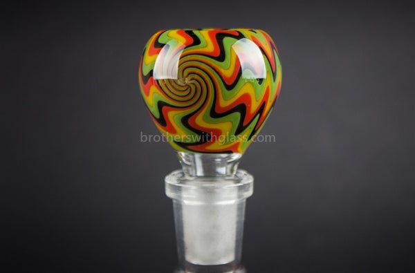 Bobby R Glass Wig Wag Water Pipe Slide - 14mm Rasta - Brothers with Glass - 1