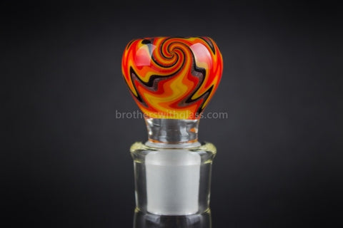 Bobby R Glass Wig Wag Water Pipe Slide - 18mm Fire - Brothers with Glass - 1