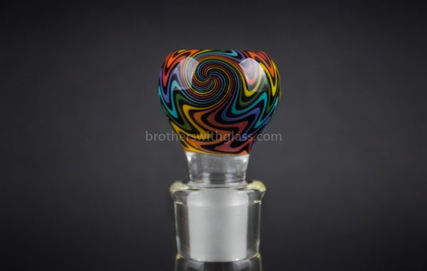 Bobby R Glass Wig Wag Water Pipe Slide - 18mm Rainbow - Brothers with Glass - 1