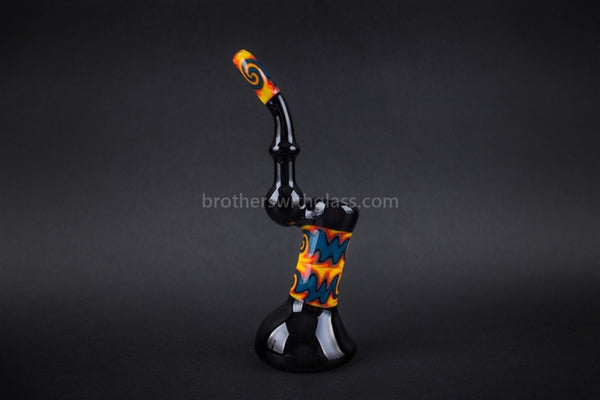 Bobby R Glass Worked Wig Wag Bubbler Water Pipe - Fire and Ice - Brothers with Glass - 1