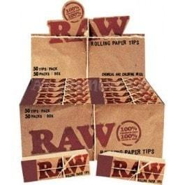Raw Unbleached Tips For Rolling Papers - Square Tips - Brothers with Glass